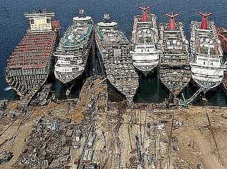 the business of dismantling old cruise ships at a dock in western turkey is booming